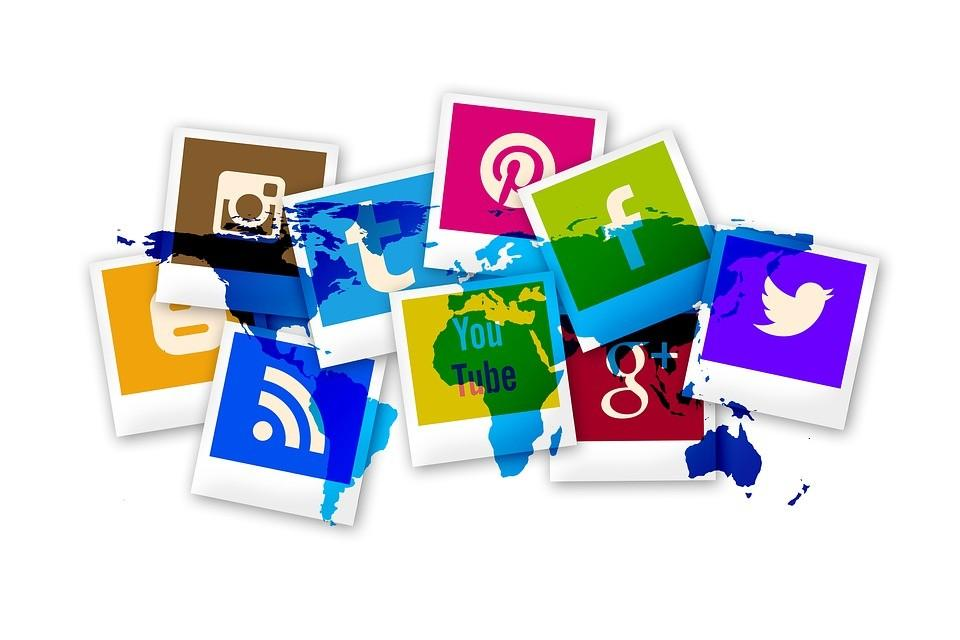 social media icons on a globe
