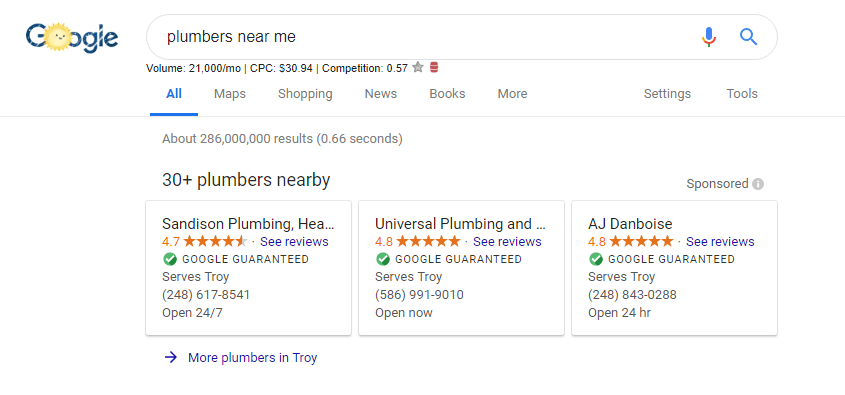 google guaranteed ads for plumbers in troy