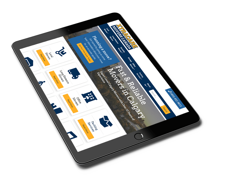 Tablet showing XTRACARE movers Canada website